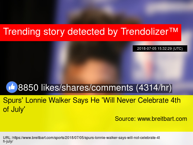 Spurs  039  Lonnie Walker Says He   039 Will Never Celebrate 4th of ... 937bc2169